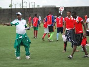 Coach Egbu 'Ziko' Joseph (left) gives-instructions to his players during the ARS Season 3 South-zone screening in Port Harcourt recently.