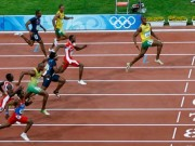 Speed of sound … Usain Bolt wins the men's 100m final at the 2008 Beijing Olympic Games.