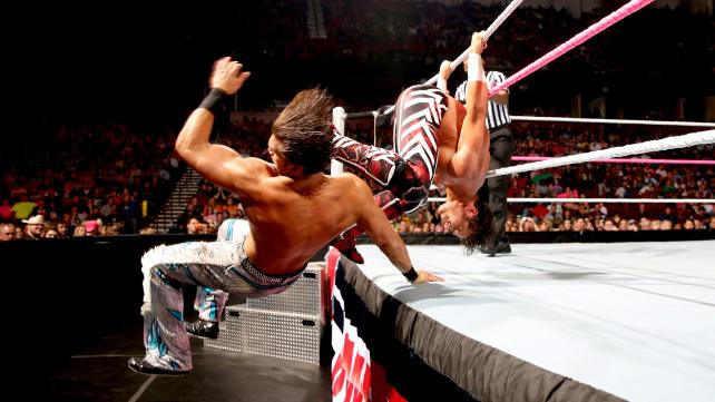 OOPS! Tyson Kidd (right) rolls over to hit the Fandango teammate during their fight.