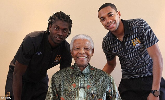 Mandela with Adebayor and Robinho