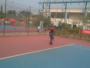 Martins Abamu returns a serve