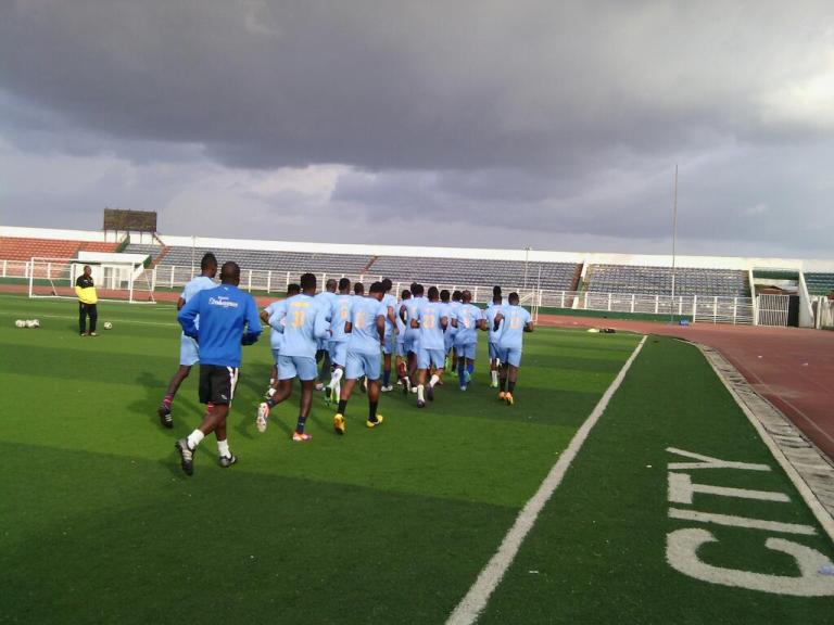 3SC players training at Benin for Insurance match