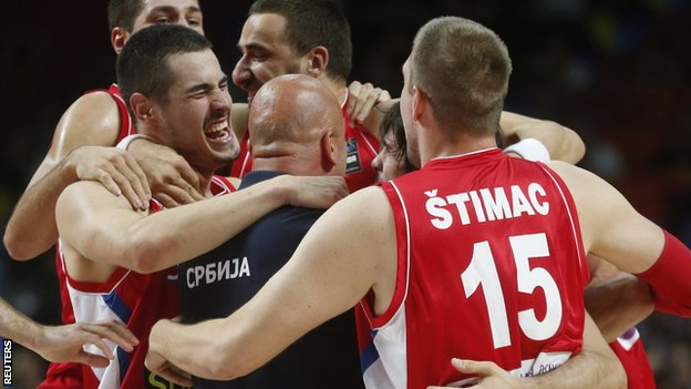 Serbia basketball team celebrate