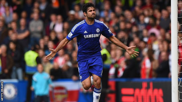 Costa scores against Arsenal