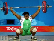 Weightlifter in action