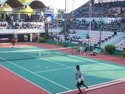 Michael returns a serve to Mugabe at Gov s Cup final eyeonthesports photo