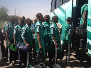 Golden Eaglets picking their luggages on arrival at the hotel