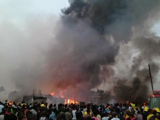 Mile 12 Market in flames