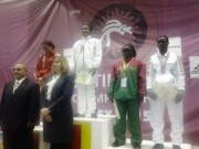 Team Nigeria Wrestlers receiving their medals