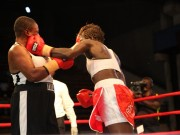 Lion Lady jabs a Ghanaian opponent during Night of Boxing in Lagos 1