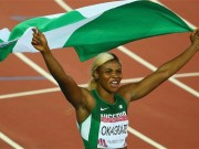 Blessing Okagbare with Nigerian flag