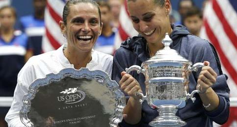 Pennetta and Vinci with 2015 US Open