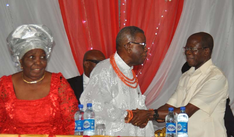 Oshiomhole with Professor Emovon and his wife Princess (Mrs) Adesuwa Emovon at the launch