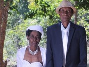 aged couple weds