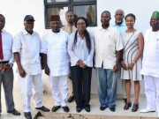 Mrs Akeredolu in a group picture with Odizor and his team