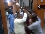 Mace being carted away in Nigeria senate